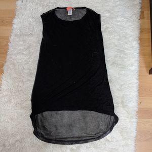 High-Low Sheer Long Tee Shirt